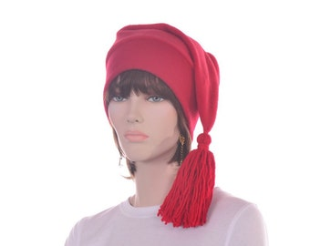 Red Stocking Cap Elf Hat Adult with Red Tassel Men Women