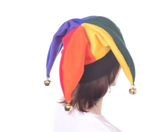 Rainbow Jester Harlequin Hat With Bells Party Hat Mardi Gras Carnival  Adult Men Women Free Shipping US