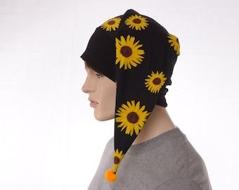 Night Cap Sunflowers Black Pointed Nightcap with Pompom Cotton Adult Men Women Chemo Sleep Hat