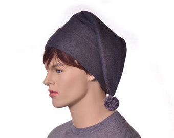 Stocking Cap Gray Elf Hat Long Pointed Beanie with Pompom Long Pointed Beanie Adult Men Women