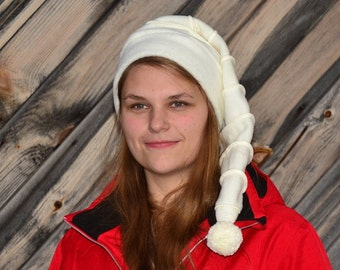 Long Stocking Cap Cream White on White Stripes Fleece  Tail Hat Long Beanie with Pompom