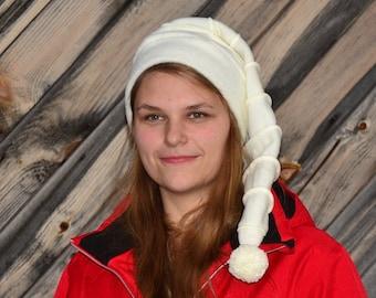 Long Stocking Cap Cream White on White Stripes Fleece Tail Hat Long Beanie Pompom Adult