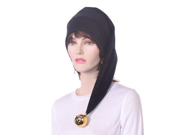 Long  Black Stocking Cap with Oversized Gold Bell Elf Hat Black Goblin Hat