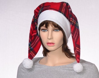 Plaid Jester Hat with White Headband Two Tail Red Two Pointed Adult Harlequin Cap Beanie