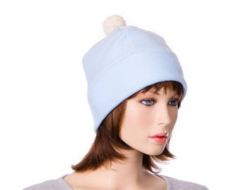 Pompom Beanie Light Blue Fleece Warm Winter Hat Skull  Bobble Cap with Fuzz Ball