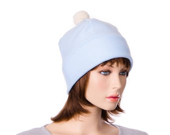 Bobble Beanie Blue Fleece Ivory Pompom Warm Winter Hat Skull Cap with Fuzz Ball