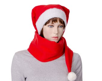 Red 5 Foot Long Fleece Stocking Cap with Pompom and Sherpa Headband