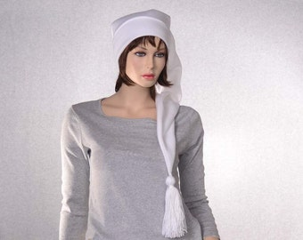 White Stocking Cap Extra Long with Tassel Pointed Tail Hat Three Foot Long Waist Length Beanie