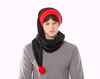 Extra Long Stocking Goth Black with Red Headband and PomPom Unusual Hat Scarf Hat Five Feet Long Wrap Around