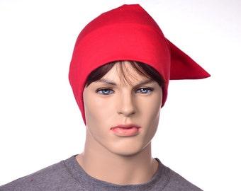 Bright Red Cotton NightCap Sleep Hat Pointed Night Cap Unisex Adult Men Women Sleep in Pajama
