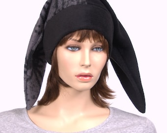 Black and Gray Bug Spider Print Two Pointed Harlequin Hat Jester Cap