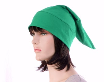 Cotton Sleep Cap Kelly Green Traditional Point Nightcap Adult Mens Women Cotton Jersey  Night Cap Elf Hat Pajama