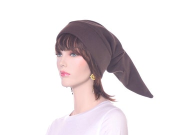 Elf Hat Brown Adult Extra Long Pointed Stocking Cap