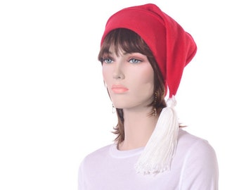 Red Stocking Cap Elf Hat Long Beanie Hat White Tassel Men Women Hat