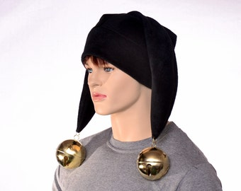Black Harlequin Cap Two Point Evil Jester Hat with Enormous Ball Bells Black Two Tail Jester Hat Adult Men Women Fleece  Jester Cap