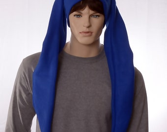 Jester Hat Extra Long Royal Blue Two Point Cap Fleece Pompom Tails