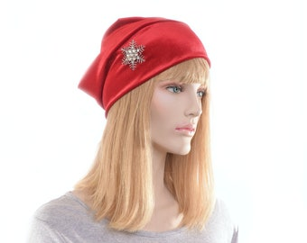 Slouchy Beanie Red Velvet with Snowflake Brooch Christmas Holiday Ladies Cloche Boho Chemo Cap