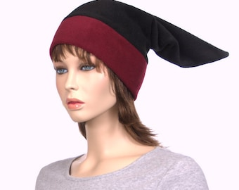 Adult Elf Hat Stocking Cap Black Burgundy Maroon Headband Long Pointed Mens Hat Women