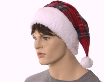 Pointed Santa Hat Fluffy White Headband and Red Plaid Body Christmas Long Tail Elf Cap