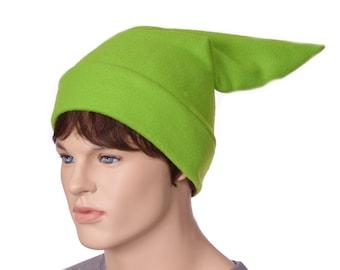 Fleece Elf Hat Green Pointed Stocking Cap Ogre Dwarf Cap Long Pointed Beanie
