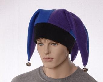 Jester Hat Purple Blue Black Three Point Harlequin Cap with Bells Fleece Mardi Gras Carnival Adult Men Women