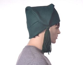 Dark Green Stocking Cap withTassel Unisex Adult  Mens Womens Hat Pointed Hat with Tassel Phrygian Liberty Style