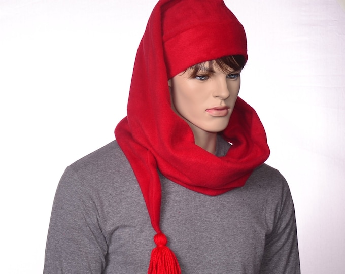 Featured listing image: Extra Long Stocking Cap Red Adult Men Women Scarf Hat 5 Foot Long Tail Hat with Tassel