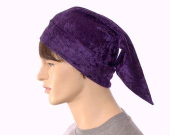 Elf Hat Royal Purple Panne Velvet Dwarf Cap Unisex Adult Men Women