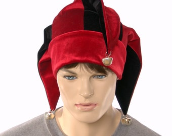 Velvet Jester Hat Red and Black with Silver Bells Three Pointed Tails Harlequin Cap
