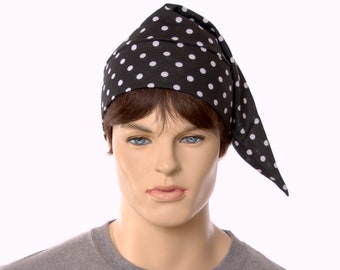 NightCap Black White Polka Dot Night Cap Cotton Knit Unisex Adult Men Women
