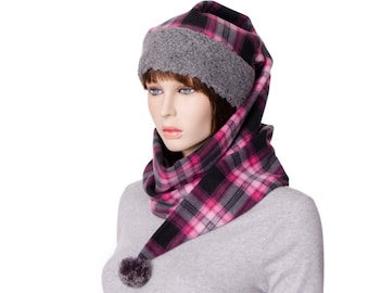 Plaid Stocking Cap Pink and Gray Wrap Around Hat Pointed Gray Sherpa Headband Fleece body