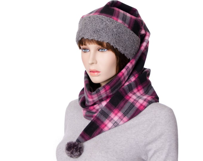 Featured listing image: Pink and Gray Plaid Wrap Around Hat Pointed Stocking Cap with Gray Sherpa Headband Fleece body