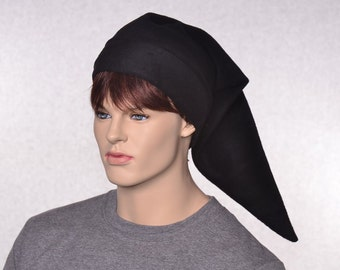 Goth Black Elf Hat Adult Unisex Costume Pointed Stocking Cap Long Fleece Dark Minion Hat