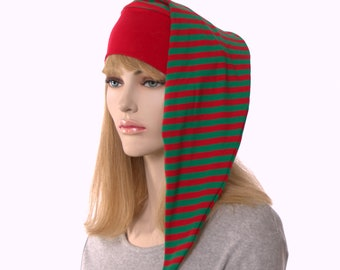 Christmas Elf Cap NightCap Red Green Stripes Night Cap with Pompom Cotton Adult Men Women