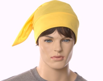 Pointed nightcap in yellow polyester jersey lightweight