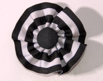 Black and White Cockade Ribbon Hat Trim Pin Federalist Rosette