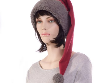 Long Stocking Cap Burgundy Gray Sherpa Shoulder Length Pointed Hat Fleece Santa Elf Hat Goth Adult Men Women