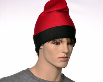 Barretina Hat Red Black Fleece Slouchy Beanie Cap Barrentina Baretina Mediterran Fisher Hat Watchman Cap