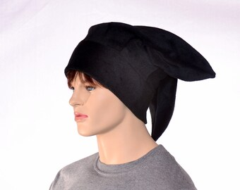 Black Three Point Jester Hat with Plain Tips Fleece Harlequin Hat Warm Winter Hat Plain Tip Jester Cap