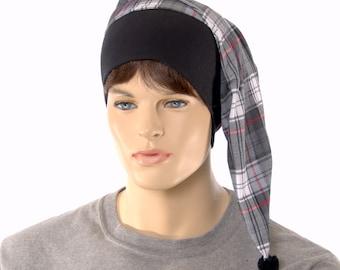 Night Cap Black Gray Plaid Pointed Nightcap with Pompom Cotton Adult Men Women
