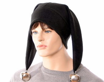 Black Harlequin Jester Hat Made of Fleece Two Pointed with Oversized Bells