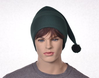 Dark Green Stocking Cap with Pompom Long Pointed Beanie Hat Forest Green Long Tail Hat Adult Man Women Fleece Hat