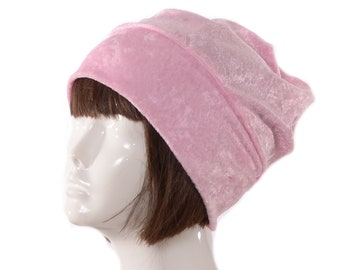 Slouchy Beanie Pink  Boho Style Panne Velvet Head Cover Ladies Cloche Chemo Cap
