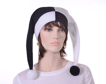 Black and White Jester Harlequin Hat with Pompoms Clown Hat Two Point  for Man or Woman