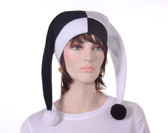 Black and White Jester Harlequin Hat with Pompoms Clown Hat Two Point   Man Woman Adult