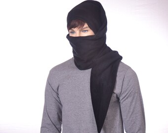 Black Ninja Long Stocking Cap Scarf Hat 5 ft Gothic Hero Hat Unisex Adult Men Women Balaclava Alternative Beanie