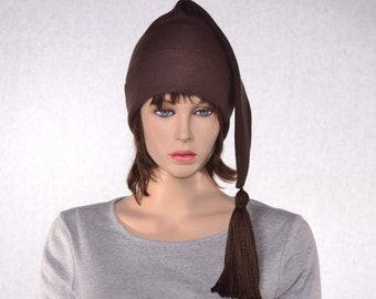Brown Stocking Cap Long Pointed Hat with Tassel Warm Winter Beanie Elf Cap Sock Hat
