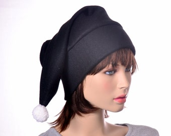 Goth Black Stocking Cap White Pompom Fuzz Ball Long Pointed Elf Hat Black Beanie