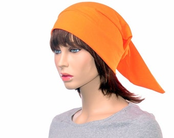 Bright Orange Elf Hat Cotton Night Cap Orange  NightCap Brownie Adult Women Mens Elf Hat Hunter Orange Pointed Beanie Unisex Poor Poet Hat
