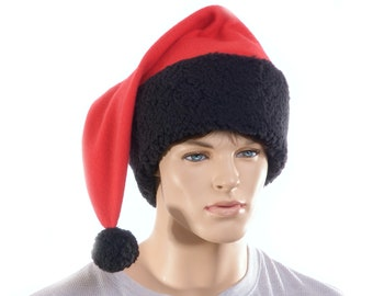 Extra Large Pointed Santa Hat with Fluffy Sherpa Black Headband and Red Body Big Man